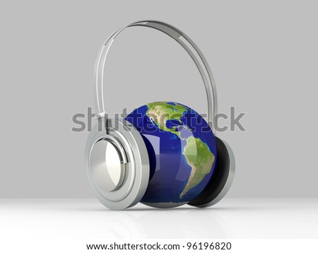 The music of America. Headphones and a world globe. 3D rendered Illustration. - stock photo