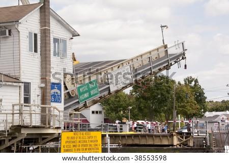 The Mystic River drawbridge in Mystic Connecticut - stock photo