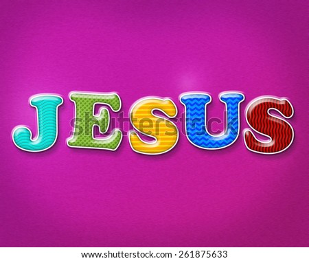 The name of JESUS written in colorful and playful patterns and letters. - stock photo