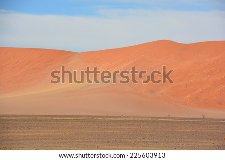 The Namib-Naukluft National Park is a national park of Namibia encompassing part of the Namib Desert (considered the world's oldest desert) and the Naukluft mountain range. - stock photo