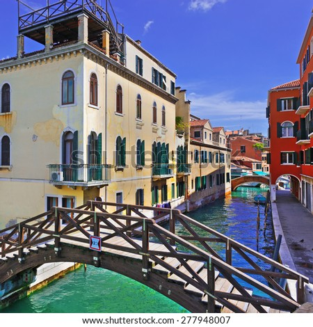 The Narrow Canal- the Street in Venice - stock photo