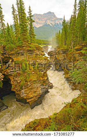 The  Narrows of the Athabasca Falls in Jasper National Park - stock photo