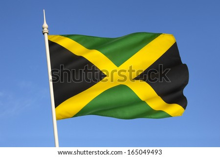 The national flag of Jamaica was adopted on August 6, 1962, the original Jamaican Independence Day, the country having gained independence from the British-protected Federation of the West Indies. - stock photo