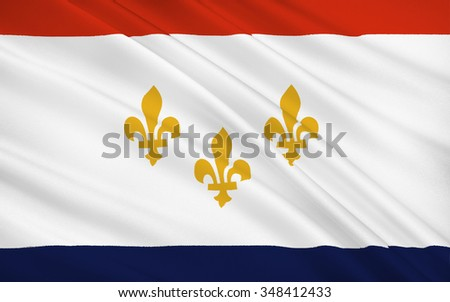 The national flag of New Orleans - a city of the United States, the largest in Louisiana, near the confluence of the Mississippi River in the Gulf of Mexico - stock photo