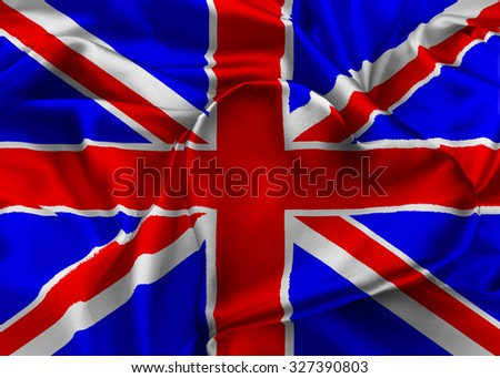 The national flag of United Kingdom. I Love Britain - stock photo