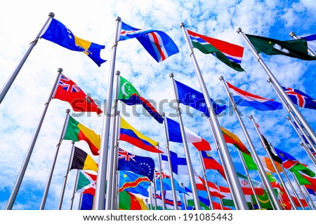 The national flags is flying around the world - stock photo