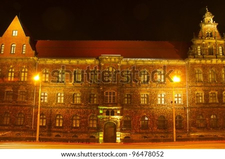 The National Museum in Wroclaw at night - stock photo