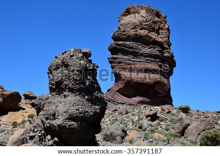 The national park of Teide is located in Tenerife on the Canary islands, Spain. The lava flows formed a magnificent volcanic landscape of magma classified to  UNESCO world heritage. - stock photo