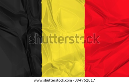 The national waving flag of Belgium. black, yellow and red, 3d background. - stock photo