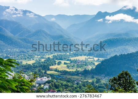 The natural landscape view of Mae Hong Son Province from mountaintop in Northern Thailand - stock photo