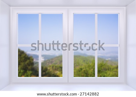 The nature behind a window 3d render with inserted photo - stock photo
