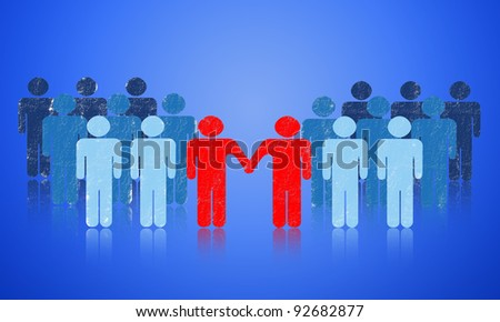 The negotiation of business. Collaborative enhance the growth of the company. - stock photo