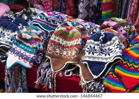 The nepalese handmade knitted hats - stock photo