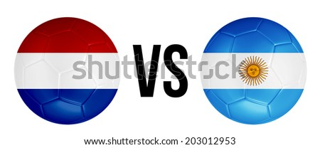 The Netherlands VS Argentina soccer ball concept isolated on white background - stock photo