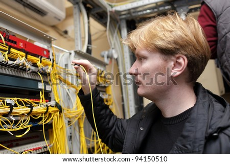 The network engineer working at a FOCL site - stock photo