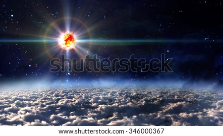 the new born star explosion at night sky - Elements of this Image Furnished by NASA - stock photo