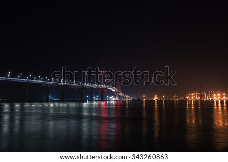 the new brigde over the cadiz bay in spain - stock photo