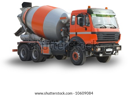The new building lorry of red color with a concrete mixer on a white background, Isolated - stock photo