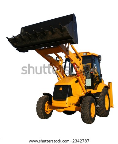 The new bulldozer of yellow color with the lifted bucket on a white background, Isolated (l - stock photo
