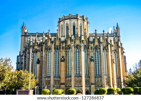 The new Cathedral in Vitoria, Spain - stock photo