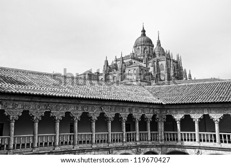The New Cathedral (Spanish: Catedral Nueva) is, together with the Old Cathedral, one of the two cathedrals of Salamanca, Spain. - stock photo
