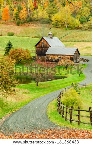 The New England Countryside in Autumn - stock photo