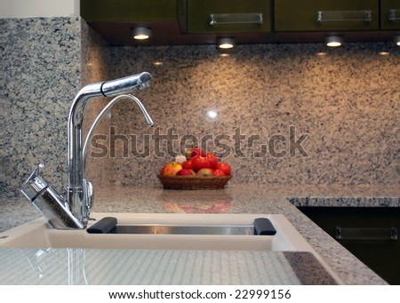 The new kitchen in modern style. - stock photo