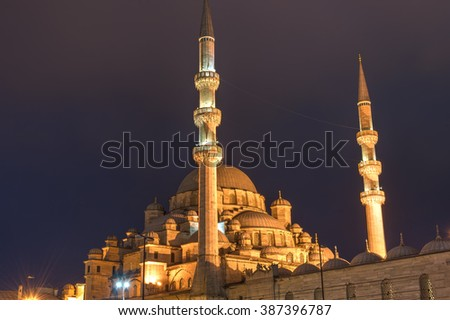 The New Mosque in Istanbul, Turkey, at night - stock photo