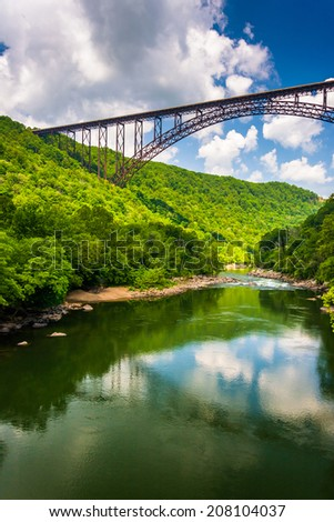 The New River Gorge Bridge, seen from Fayette Station Road, at the New River Gorge National River, West Virginia. - stock photo