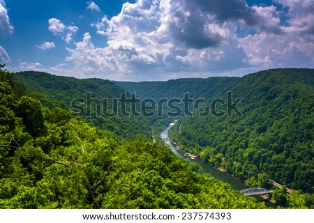 The New River Gorge  seen from the Canyon Rim Visitor Center Overlook, West Virginia. - stock photo
