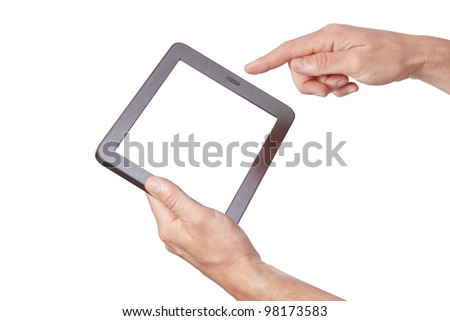The new tablet in hand on white background - stock photo