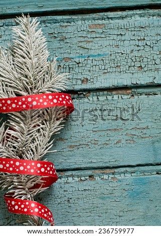 The New year tree on the wood backing - stock photo