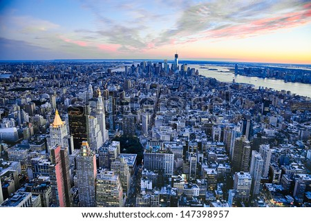 The New York City and New Jersey skyline at afternoon w the Freedom tower and Brooklyn bridge - stock photo