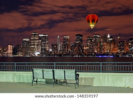 The New York City skyline from the Liberty State Park - stock photo