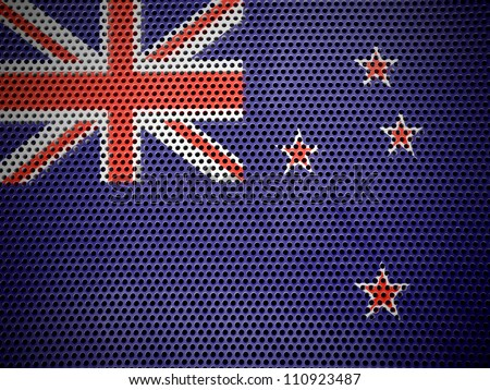 The New Zealand flag painted on  metall grill - stock photo