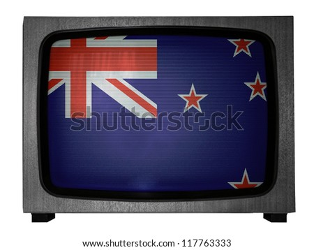 The New Zealand flag painted on  old TV - stock photo