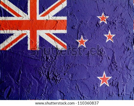 The New Zealand flag painted on wall - stock photo