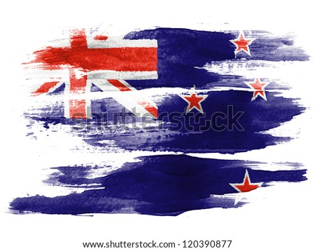 The New Zealand flag painted on  white paper with watercolor - stock photo