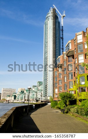The newly built skyscraper on the banks of the River Thames  - stock photo