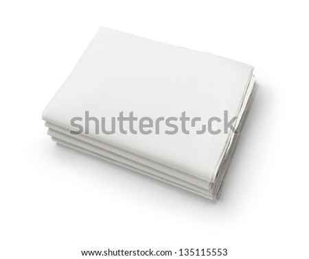 The news, stack of old blank business newspapers isolated on white background with copy space - stock photo