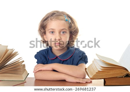 The nice school-girl with the book over white - stock photo