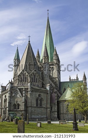 The Nidaros Cathedral in Trondheim is one of the largest and most important churches in Norway and is considered as a national shrine  - stock photo