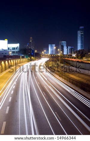 The night cityscape - Night freeway - stock photo