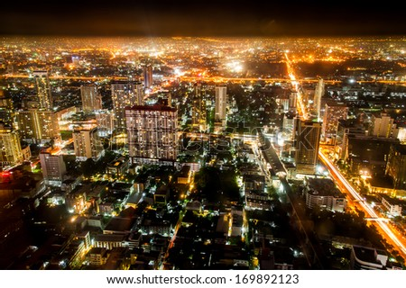 The night cityscape of Bangkok, Thailand from top view - stock photo