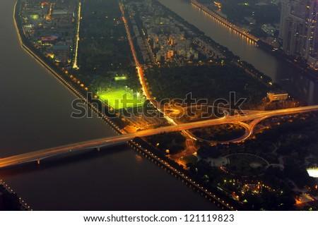 The night road transport hub - stock photo
