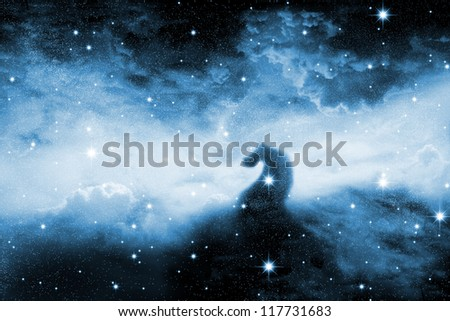 The night sky in stars and blue galaxies - stock photo