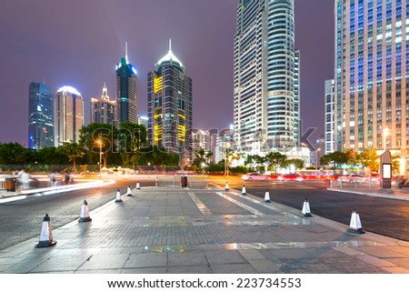 the night view of the financial center in shanghai china - stock photo