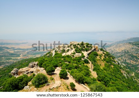 The Nimrod Fortress(Mivtzar Nimrod) is a medieval fortress situated in the northern Golan Heights, Israel. - stock photo