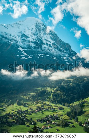 The north face of majestic Eiger mountain, Switzerland - stock photo