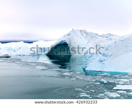 The north pole of the world. Ilulissat, Greenland. Icebergs and glaciers. - stock photo